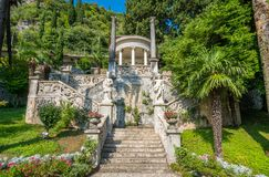 The beautiful Villa Monastero in Varenna on a sunny summer day. Lake Como, Lombardy, Italy. Villa Monastero is located in Varenna, Province of Lecco, on the stock photos