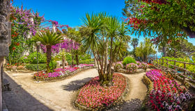 Beautiful Villa Rufolo gardens in Ravello at Amalfi Coast, Italy Royalty Free Stock Photos