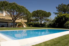 Beautiful Villa With Garden And A Pool Stock Photography