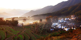 Beautiful village. It is a beautiful village in morning in the fall royalty free stock images