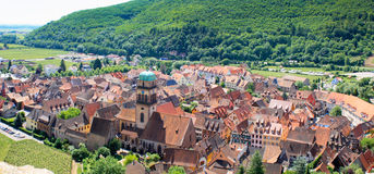 Beautiful village in Alsace - France. Panorama of the beautiful village of Kaysersberg in Alsace, France royalty free stock photography