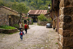 Beautiful village Barcena Maior in Asturia y Cantabria, Spain. Barcena Maior, Spain - October 11, 2008, People on the street of Barcena Maior, Asturia y Stock Photography