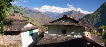 Beautiful village and Dhaulagiri himal. Guerrilla trek - Western Nepal royalty free stock image