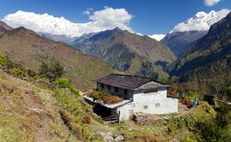Beautiful village and Dhaulagiri himal. Guerrilla trek - Western Nepal royalty free stock photography