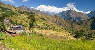 Beautiful village with Dhaulagiri Himal. Beautiful village in western Nepal with Dhaulagiri Himal royalty free stock images