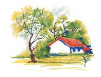 Beautiful village house and picturesque green trees, watercolor painting. Royalty Free Stock Images