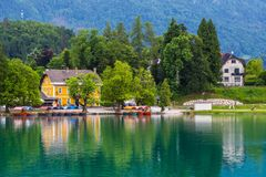 Lake bled. Beautiful village at Lake Bled in Slovenia Royalty Free Stock Photos