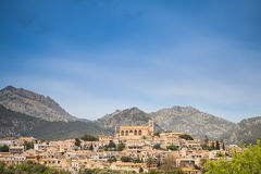 Beautiful village Selva in front of the mountains of the Tramuntana in Majorca Stock Images