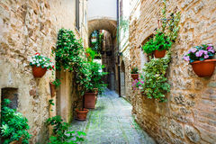Beautiful village Spello (Umbria, Italy) with floral streets Stock Photography