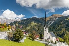 Beautiful village in the Swiss Alps near Klosters. The village of Seewis in the Praettigau near Klosters in the Swiss Alps Stock Images