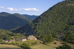 Beautiful village in valley in Aragon, in the Pyrenees Mountains, Province of Huesca, Spain Royalty Free Stock Images
