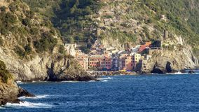The beautiful village of Vernazza seen from Monterosso al mare, Cinque Terre, La Spezia, Liguria, Italy royalty free stock image