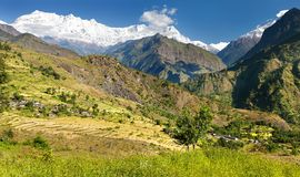 Beautiful village in western Nepal with Dhaulagiri Stock Photo