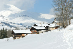 Beautiful village in winter. Village in the mountain in winter Royalty Free Stock Image