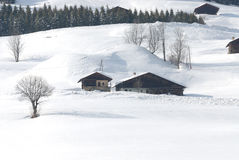 Beautiful village in winter. Village in the mountain in winter Stock Image
