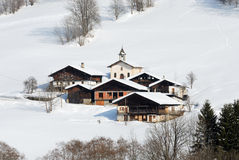 Beautiful village in winter. Village in the mountain in winter Royalty Free Stock Photos