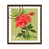 Beautiful Vinatge Flower Stamp. Flower stamp   bud and foliage with postage marks (layered in vector format)  See Series Stock Photography