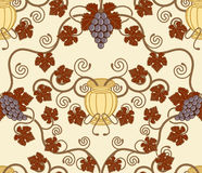 Beautiful vine leaf and urn seamless tile design. Beautiful vine leaf and urn seamless tile. Designed to look at its best when tiled Stock Photo