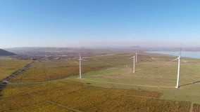 Beautiful vineyards landscape in fall colors  with wind turbines in the background, aerial view stock video