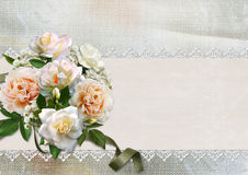 Beautiful vintage background with roses, lace and space for text Royalty Free Stock Photos