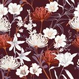 Beautiful vintage botanical blooming garden flowers unfinished l stock illustration