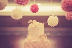 Beautiful vintage cake for wedding reception Stock Photo