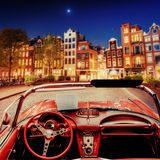 Beautiful vintage car on the street in Amsterdam, Netherlands Royalty Free Stock Photos
