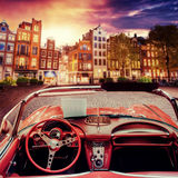 Beautiful vintage car on the street in Amsterdam, Netherlands Royalty Free Stock Photo