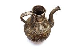 Beautiful vintage cast iron jug on white isolated background royalty free stock photo