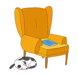 Beautiful vintage chair, notebook and a cute dog. Royalty Free Stock Photo