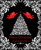 Beautiful vintage Christmas black and white card with cut out floral xmas tree, angels and decorative border Stock Photography