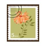 Beautiful Vintage Chrysanthemum Stamp. Stamped Vintage Postage stamp with picture of chrysanthemum flower (See series)  layered in Vector Format Stock Photos