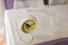 Beautiful vintage clock on the table. Close-up stock images