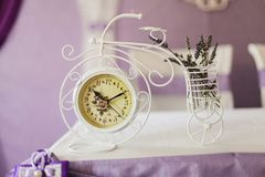 Beautiful vintage clock on the table. Close-up stock image