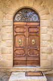 Beautiful vintage doors. In tuscan Montisi village, Italy Stock Photos