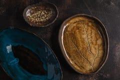 Free Beautiful Vintage Empty Dark Dishes On A Dark Rusty Background. Stock Photo - 111384140