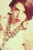 Beautiful Vintage Fashion Woman. Beautiful vintage fashion model woman Stock Photos