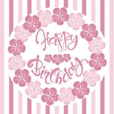 Beautiful vintage floral Happy Birthday invitation card, hand draw pink flowers, lettering, vector. Illustration Royalty Free Stock Photo