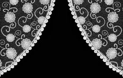 Beautiful vintage floral lace curtain Stock Photography