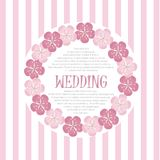 Beautiful vintage floral wedding invitation card, hand draw pink flowers, vector Stock Photography