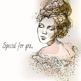 Beautiful vintage girl. Watercolor illustration in vector. Vintage Postcard Stock Photography