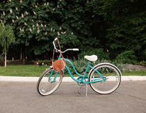 Beautiful vintage green bicycle stands and it hangs brown vintage bag, warm, tonning Royalty Free Stock Image