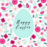 Beautiful vintage Happy Easter card as egg shaped frame with hand drawn first spring flowers Stock Photography