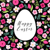 Beautiful vintage Happy Easter card as egg shaped frame with hand drawn first spring flowers Royalty Free Stock Image