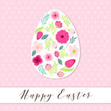 Beautiful vintage Happy Easter card as egg shaped frame with hand drawn first spring flowers Stock Photo