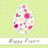 Beautiful vintage Happy Easter card as egg shaped frame with hand drawn first spring flowers Stock Images