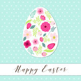 Beautiful vintage Happy Easter card as egg shaped frame with hand drawn first spring flowers Royalty Free Stock Images