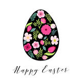 Beautiful vintage Happy Easter card as egg shaped frame with hand drawn first spring flowers Stock Photos