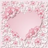Beautiful vintage heart frame with 3d light pink paper cut flowers. Vector illustration royalty free illustration