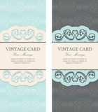 Beautiful vintage invitations set Stock Photos